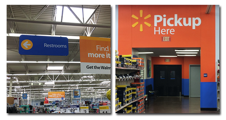 Signage to restrooms, and signage at Pickup counter