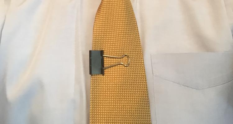 a binder clip as a tie clip