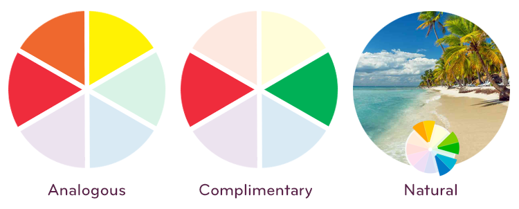Color relationships: Analogous, Complimentary, Natural