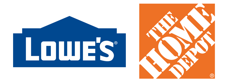 Contrasting logos: Lowes, The Home Depot