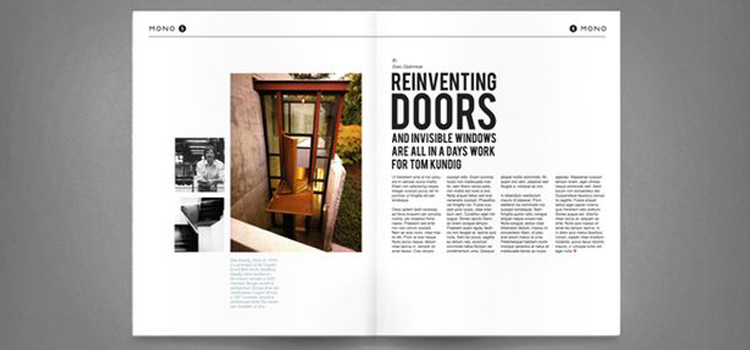 Magazine spread using scale and color to create hierarchy