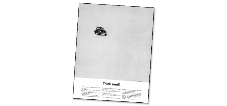 """Volkswagen """"Think Small"""" ad illustrating white space"""